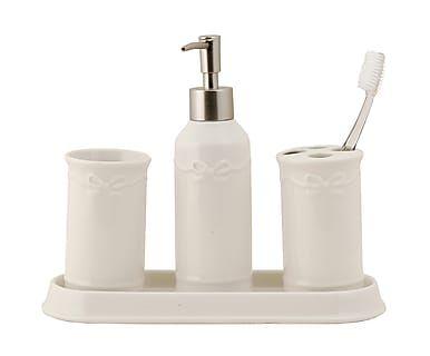Set de baño en cerámica Bow, blanco - 4 piezas
