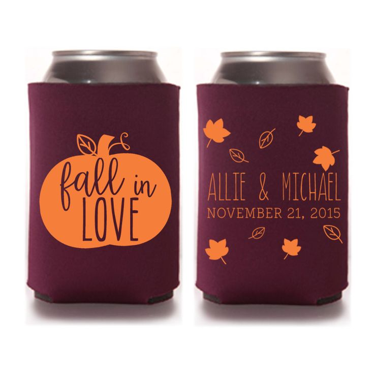 Rustic Fall Wedding Favors - Personalized Fall in Love Wedding Koozies, DIY Favors for Guests, Destination Wedding Ideas, Stubby Holders, Mountain Wedding, Beer Cozies by yourethatgirldesigns on Etsy