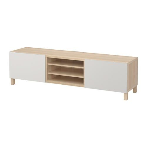 Besta Tv Bench With Drawers White Stained Oak Effect Lappviken Light Grey Ikea In 2019 Bench With Drawers Ikea Tv Unit