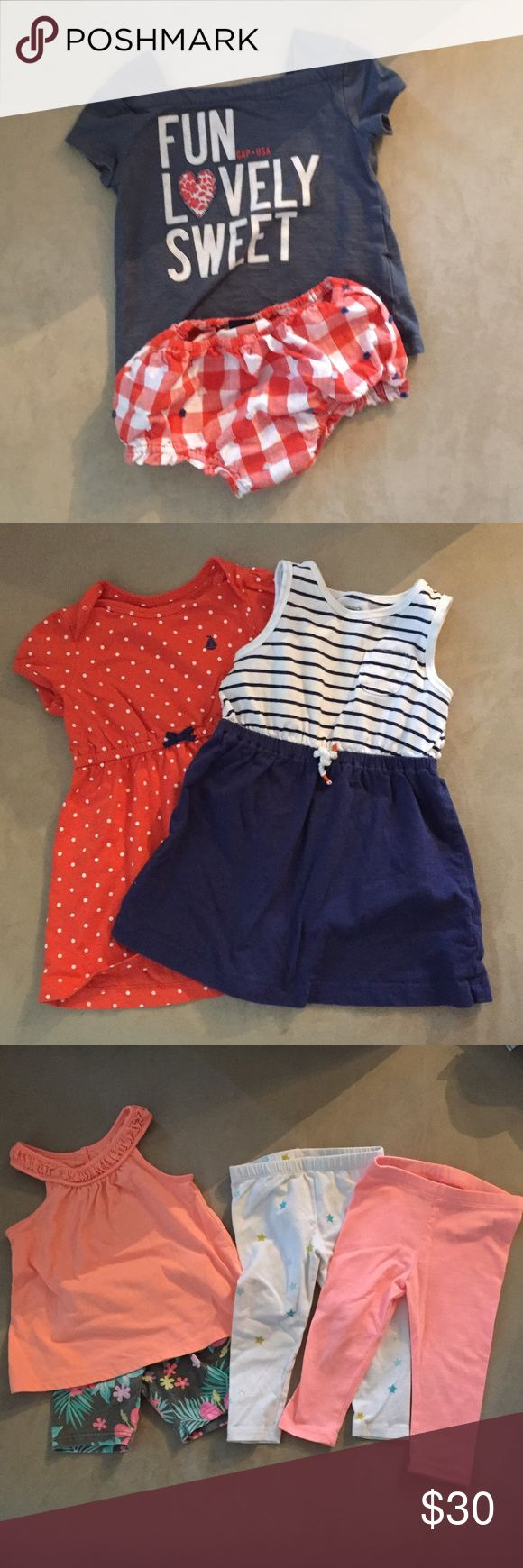 Toddler girls 18-24 month summer clothes Baby Gap outfit 18-24 month EUC. Carter's 18 month dresses. Carter's 18 month outfit GUC. OshKosh white tights with stars and Circo orange tights 18 mo. Baby Gap red orange shorts EUC 18-24 mo. Floral Cherokee shorts 18 mo. Crazy 8 elephant outfit 18-24 GUC with small stain on shirt (tan colored, so you can't tell in pic). GAP Shirts & Tops