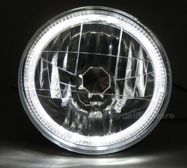 "7"" Motorcycle Halogen Headlights head lamps LED Halo Angel Eyes"