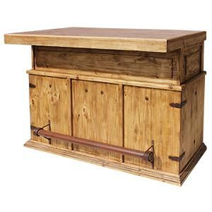 """You don't have to have a belly to """"belly up"""" to this attractive and affordable bar.  Wine racks, shelves, drawers and a cabinet give you all the space you need to store your drink mixing products.  Made by hand in Mexico, the solid pine has a rustic distressed finish that is durable and an inlaid terra cotta tile top that is easily cleaned. The southwestern style compliments many other furniture designs and even includes an iron foot rest."""