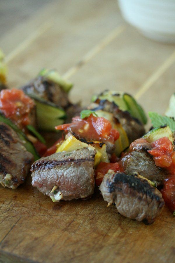 Grilled Marinated Lamb Kebabs with Zucchini and Lebonese Fresh Tomato Salsa   Easy Healthy Recipe