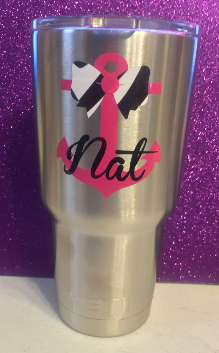 Anchor with Zebra Bow and Name Personalized Yeti Tumbler by LeslisDesigns on Etsy