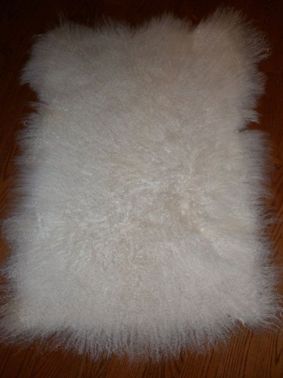 Mongolian lamb Tibet Lamb Bleached Snow White fur plate rug throw new authentic real genuine Sheepskin