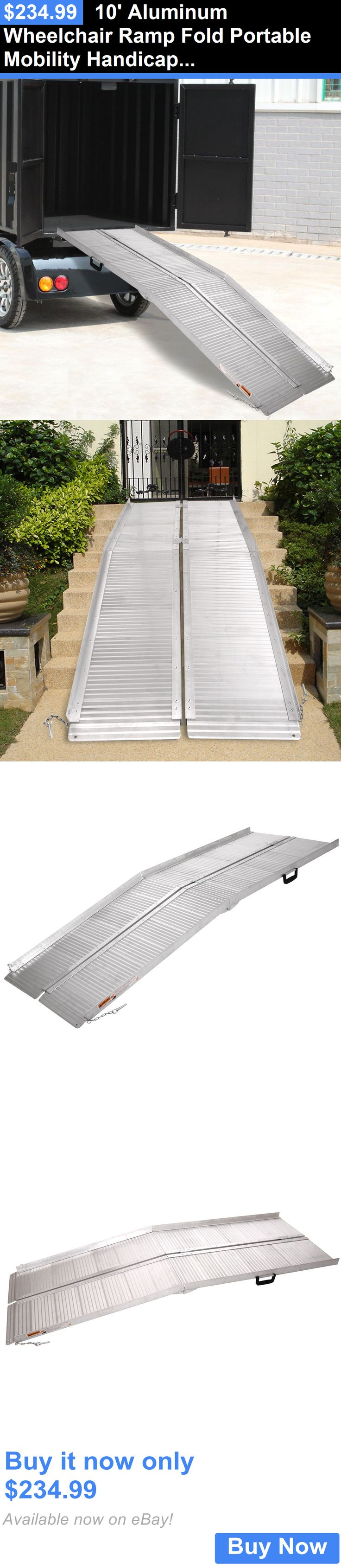 Access Ramps: 10 Aluminum Wheelchair Ramp Fold Portable Mobility Handicap Suitcase Threshold BUY IT NOW ONLY: $234.99