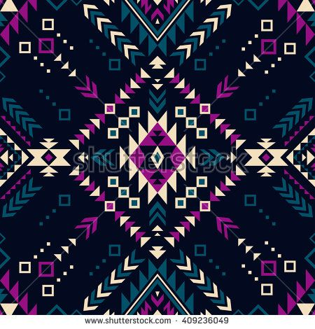 dark color tribal Navajo vector seamless pattern. aztec fancy abstract geometric art print. ethnic hipster backdrop. Wallpaper, cloth design, fabric, paper, cover, textile, weave, wrapping.  - stock vector