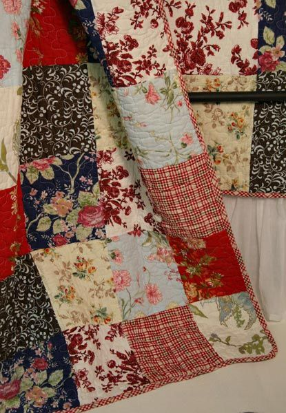 French Country Cottage Red Blue Quilt Throw detail Emilia French ...love the mix of florals with the red plaid--great for the leftovers from projects