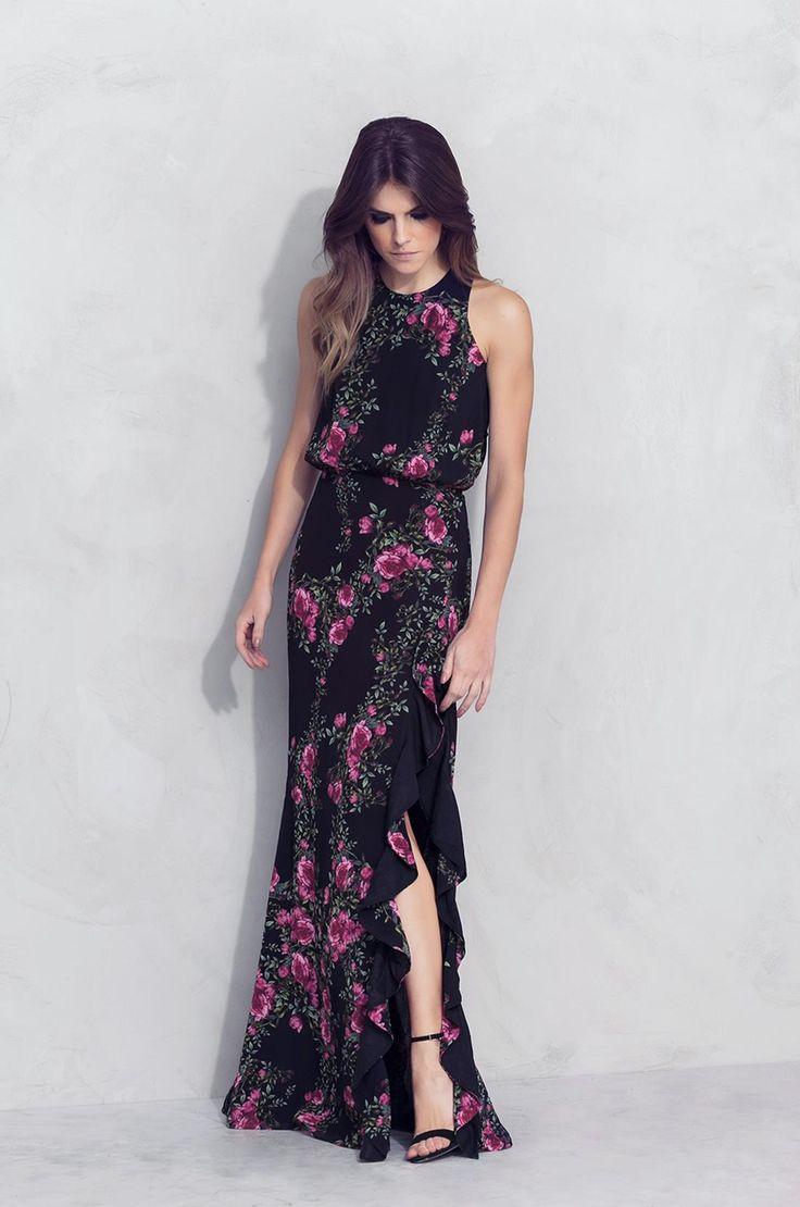 Vestido Longo Floral Preto » Vestidos