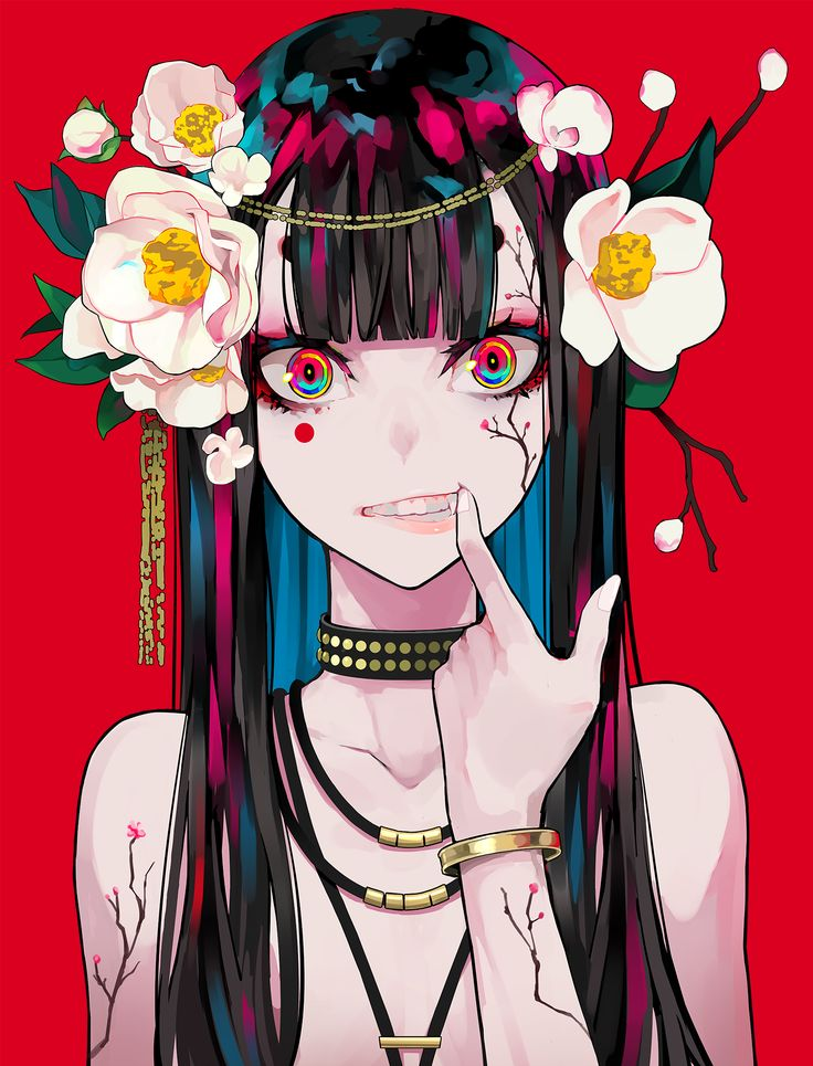 Anime 1525×2000 women portrait display artwork digital art 2D looking at viewer fangs flower in hair necklace long hair painting illustration original characters red background…