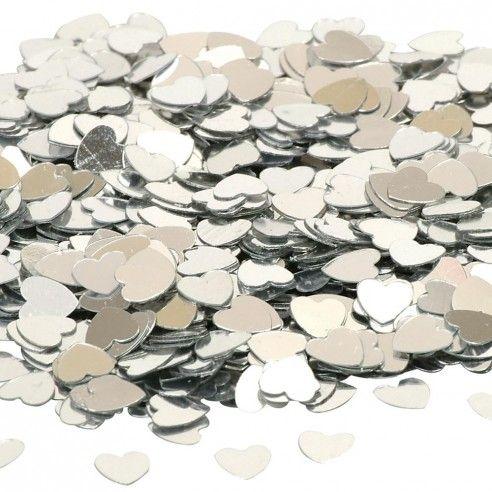 Zakje van zilveren confetti hartjes - 14gr. Leuk alternatief om te gooien na de huwelijksceremonie of om te gebruiken als decoratie op de tafel.