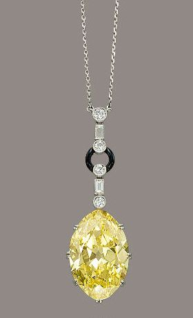 Art Deco necklace - circa 1925 - with old cut oval-shaped diamond of 19.07…