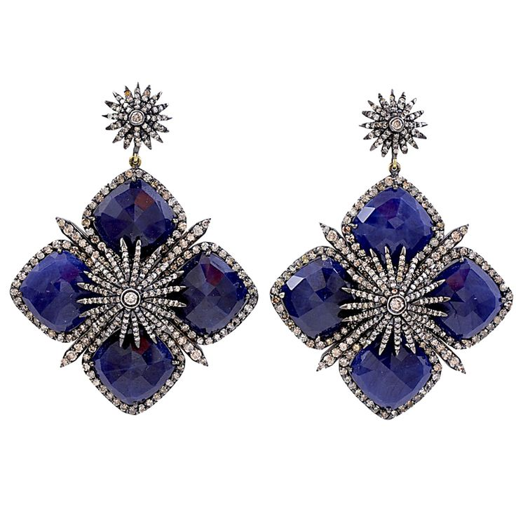 Tanzanite Diamond Starburst Earrings