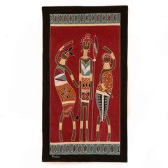 Wall Hangings ~ Ladies and Warriors Designs  $55.00 USD Medium Multi-purpose wall hanging depicting athletic warriors and graceful ladies in striking terracotta and red colourway. Hemmed all around with full-width pocket along top edge for hanging pole. Can also be used as a Tablecloth or throw.