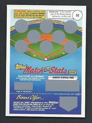 Mickey Mantle 1992 Topps RARE Match the Stats Game Card #52; Unscratched please retweet