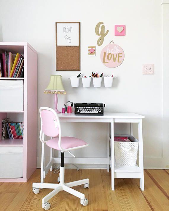 Dream Big Wooden Cork Board Sign Little Girl Room Desk Area