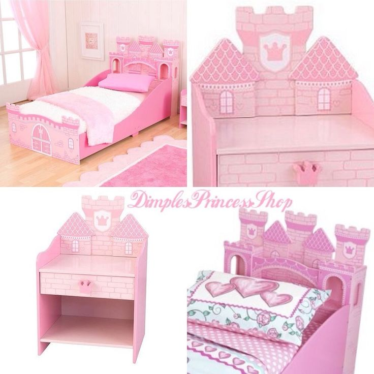 2 Piece Princess Castle Toddler Girls Bedroom Furniture Set Bed +Nighstand  Table
