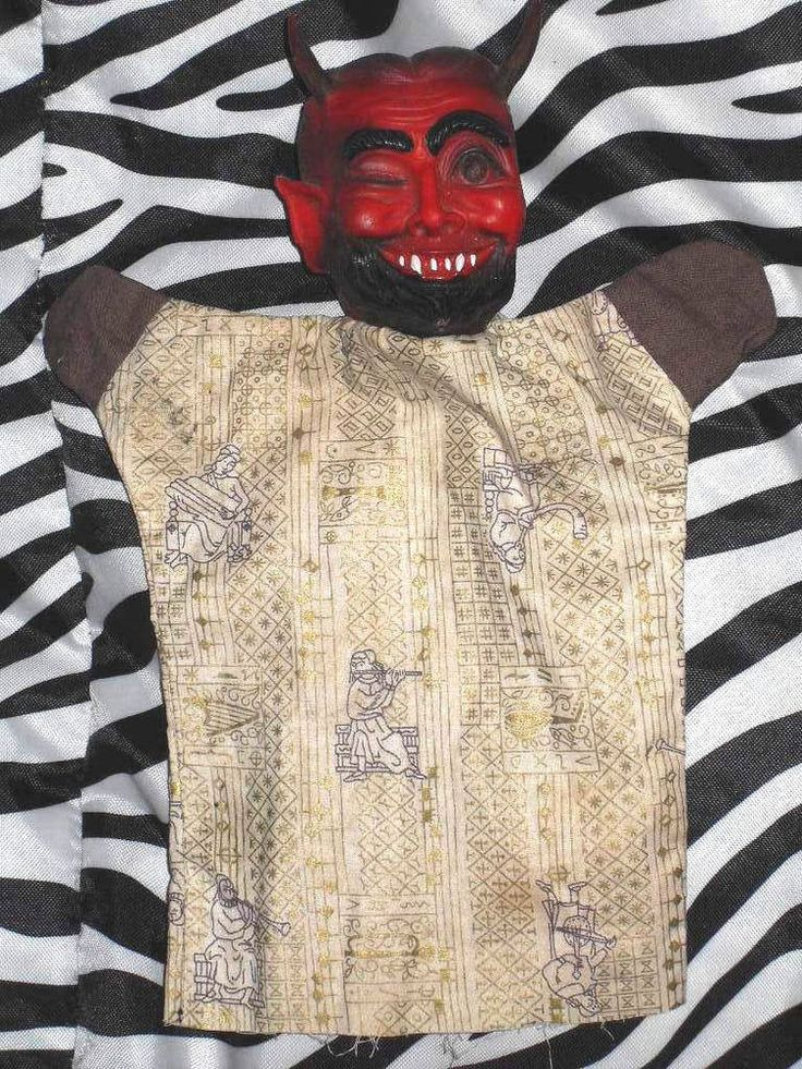 Vintage Soft Rubber Head Clothe Body Winking Devil Satan Lucifer Hand Puppet #Unknown