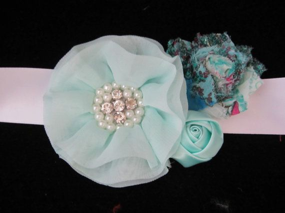Teal maternity sash/ Maternity sash/ Pregnancy by cutelikeaudrey, $10.50
