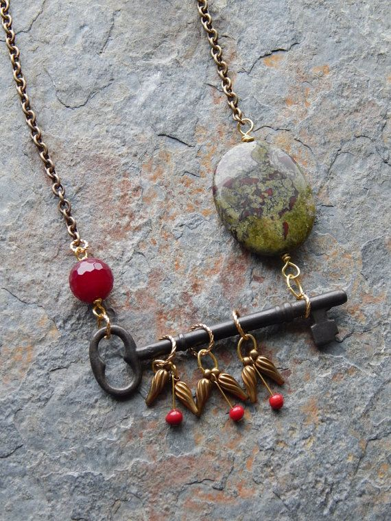 Skeleton Key Necklace Rustic Master Key lever lock key grungy old key necklace long bohemian necklace steampunk alternative dragons blood