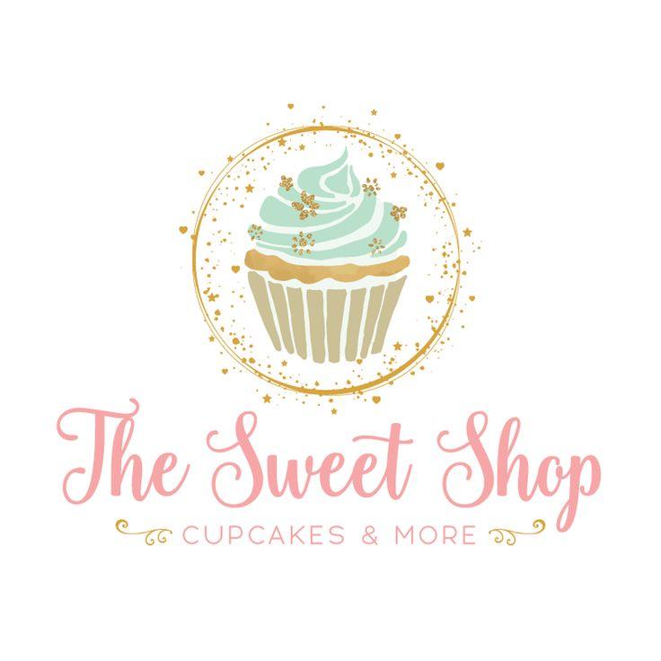 Premade Logo & Blog Header - Golden Cupcake Bakery Premade Logo Design - Customized with Your Business Name!