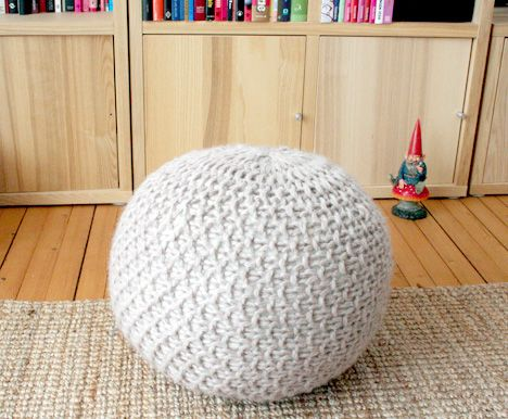 "Heidi and Anna at Pickles have some free knitting patterns to make these knitted ""poufs"", aka stools. (The ladies are in Norway and ""puff"" means stool in Norweigian). Try your hand at knitting Puff..."