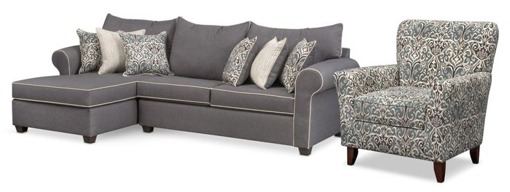 Living Room Furniture Carla 2 Piece Sectional And Accent