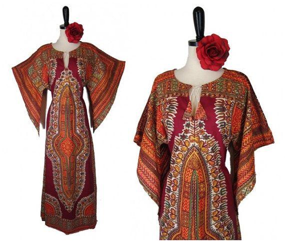 Vintage 70s Dashiki Dress Hippie Caftan Kaftan XL Angel Sleeve Batik Festival Gypsy