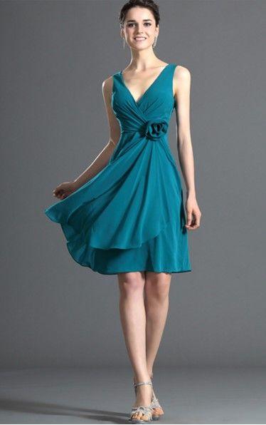 A-line Knee-length V-neck Blue Dress