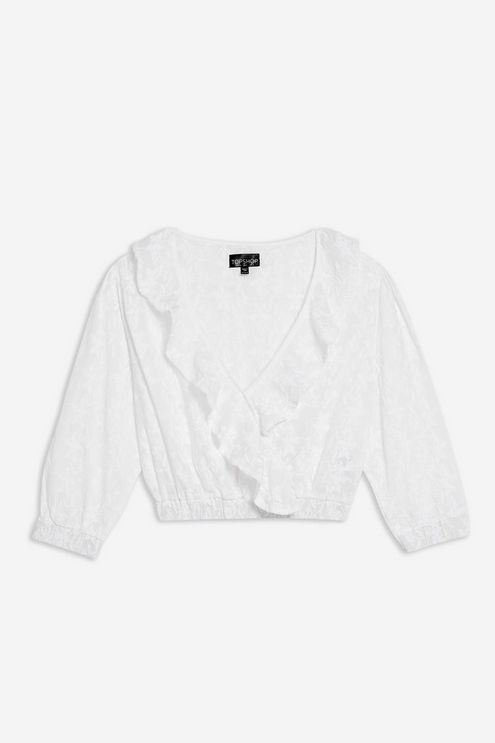 7ad45b4bd3c8a3 Embroidered Ruffle Wrap Blouse - Shirts & Blouses - Clothing - Topshop USA