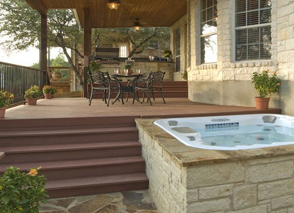 hot tub option on the edge of our porch, built in to the stairs with the fire a safe distance away....yes!