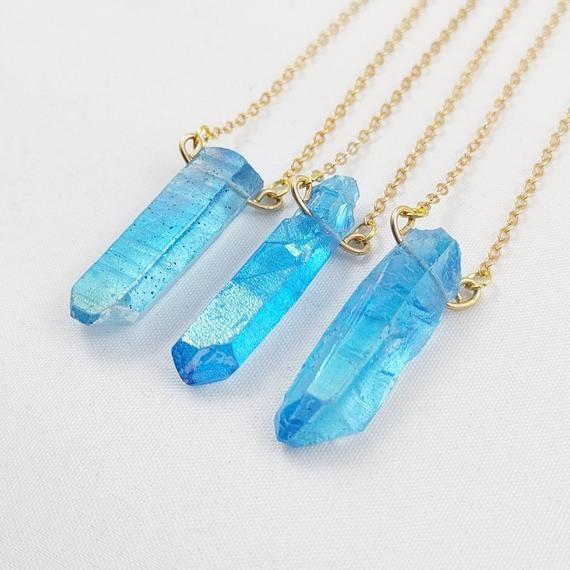 Pendant Necklace Quartz Necklace Crystal Crystal Necklace Blue Raw Crystal Pendant Necklace Blue Crystal Pendant Necklace