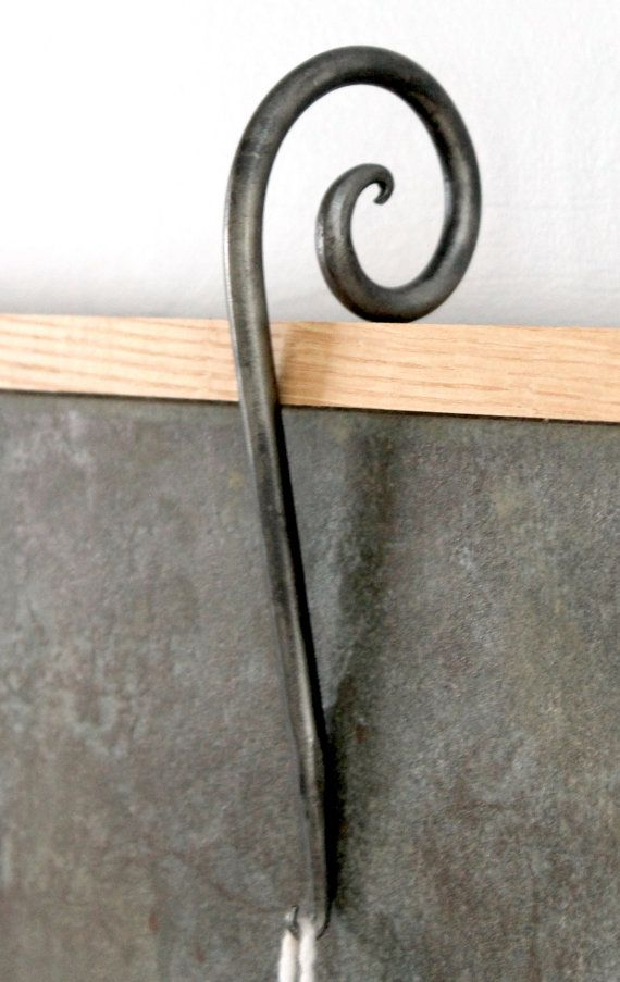 Decorative stocking hook whimsical blacksmithed