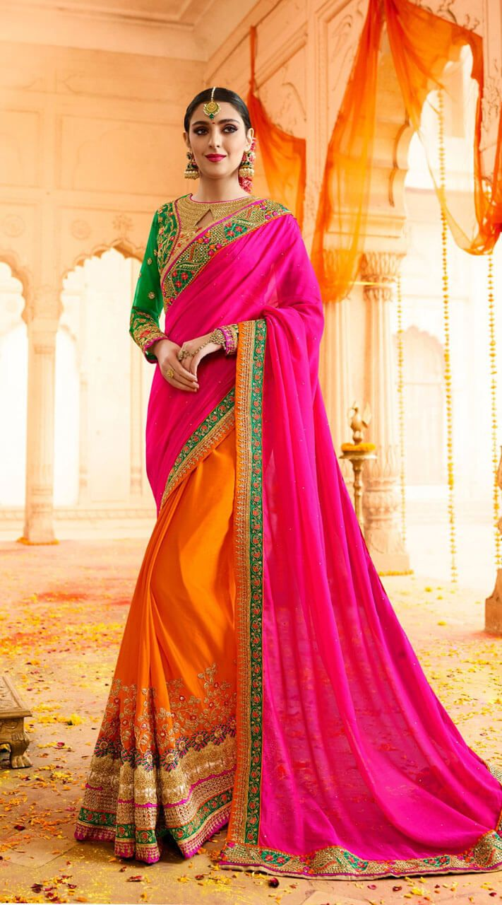 a0ed28670c7b26 Exclusive Rani and Orange Silk Georgette Saree Heavy Zari work Saree comes  with matching Blouse and embroidery work blouse piece.