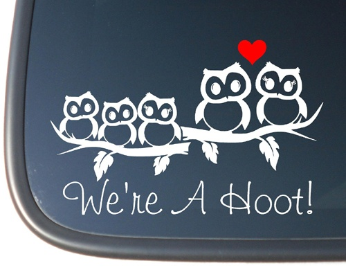 Owl family stick figure vinyl car truck decal sticker