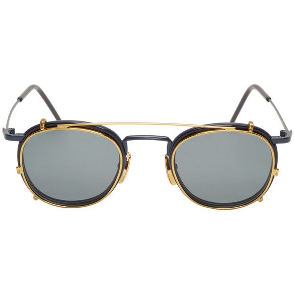 Thom Browne Matte Navy and Gold Clip-On Glasses found on Polyvore featuring polyvore, fashion, accessories, eyewear, eyeglasses, round eyeglasses, striped glasses, gold round glasses, thom browne and blue tinted glassesy
