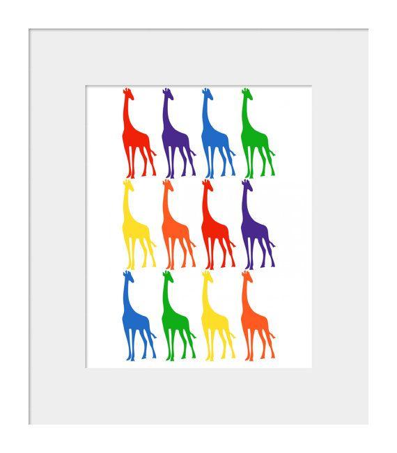 Nursery Wall Decor-Kids Room Art Prints-Giraffes in a Row Print for Nursery Primary Colors 8x10 via Etsy