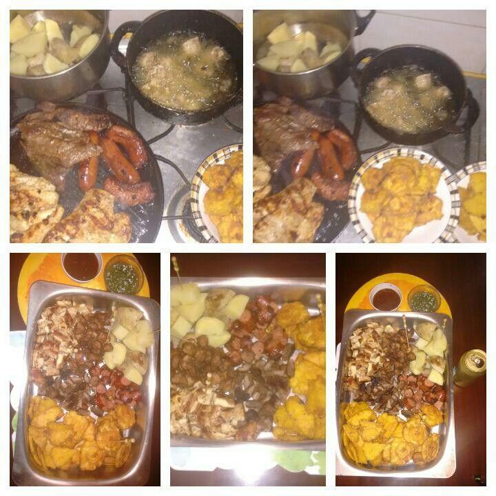 Picada:  cerdo, res, chorizo, pollo. patacones, papa, arepa, acompañada de salsa bbq y chimichurri.