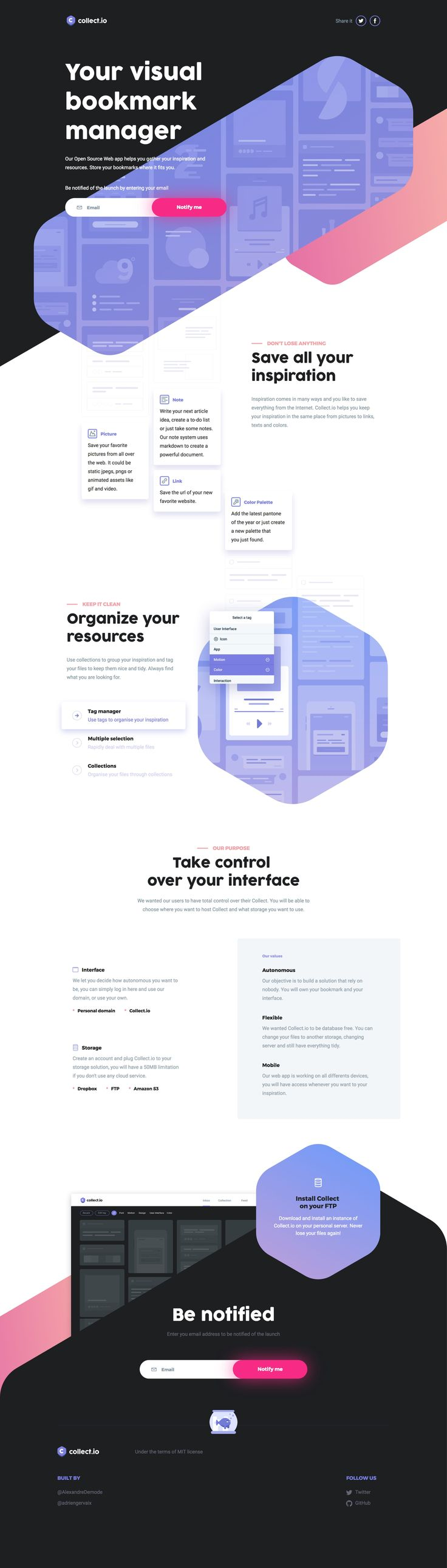 Great looking launching soon page for Collect.io - an upcoming (Open Source) visual bookmark manager. The interactive 'Organize your resources' section is really impressive.