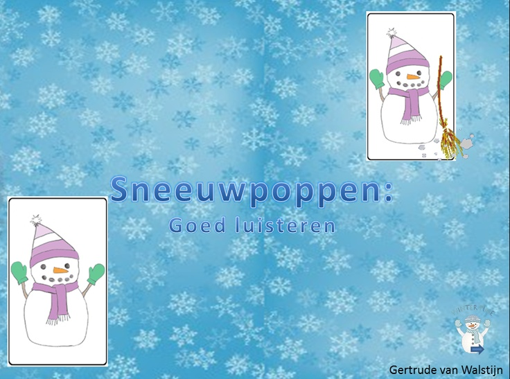 Digibordles: goed luisteren Digibordles voor kinderen groep 1/ 2. Telkens zie je 4 verschillende sneeuwpoppen. Klik op de sneeuwpop waar je de goede omschrijving van hoort. Er zijn 2 versies. Er is een versie waar jezelf de tekst moet voorlezen en een andere versie waarin de tekst wordt ingesproken. De eerste versie kan je in kleine kring aanbieden,waarna de kinderen zelfstandig de tweede versie kunnen spelen. http://leermiddel.digischool.nl/po/leermiddel/08d7b811cd76565ce23dea5f265ed062