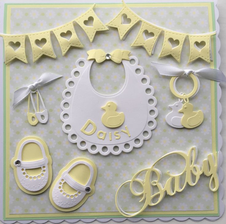 Baby Girl card by Sospecial Cards using Marianne Dies, Bib, shoes and bunting