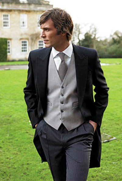 Morning dress for grooms during ceremony. Remove coat and roll up sleeves in italian cuffs for a more relaxed reception. Differentiate grooms and best men by boutonieres