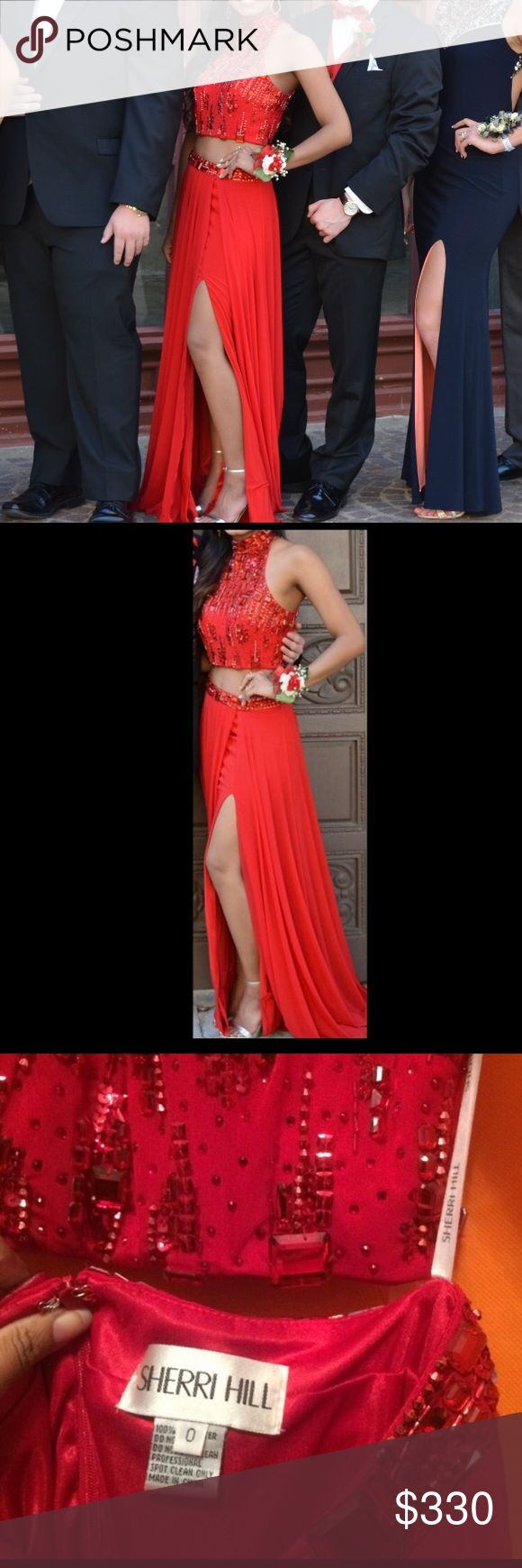 SHERRI HILL RED 2 PEICE PROM DRESS Beautiful red Sherri Hill prom dress! Style 9375. It's a 2 piece and has a pretty slit. Length altered to fit 5 3 with 4 inch heels (but can be undone). Size 0 but runs a little big (fits more like a 2). Worn twice but only for a few hours each time and it's in PERFECT condition! Feel free to ask any questions/more pictures. Willing to go much lower on eBay/️️ :) (same as other listing in my closet, jut need more views so I can sell soon) Sherri Hill…