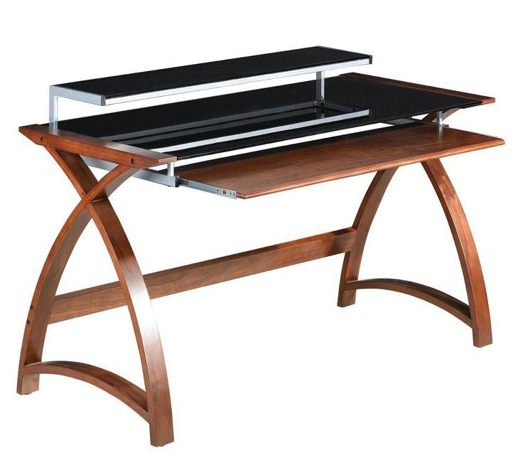 Curve office walnut and black glass 900 desk