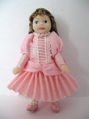 Toy Doll in Pale Pink Silk Dress : Tower House Dolls, Miniature toys & dolls