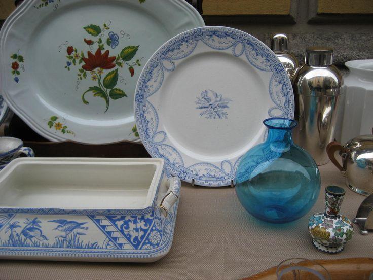 """Ceramiche inglesi transferware fine 800: Zuppiera """"Congo"""" pattern, piatto Wedgwood """"Peace"""" pattern"""