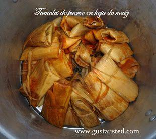 Tamales de puerco en chile colorado (adobo) en hoja de maíz. Receta paso a paso