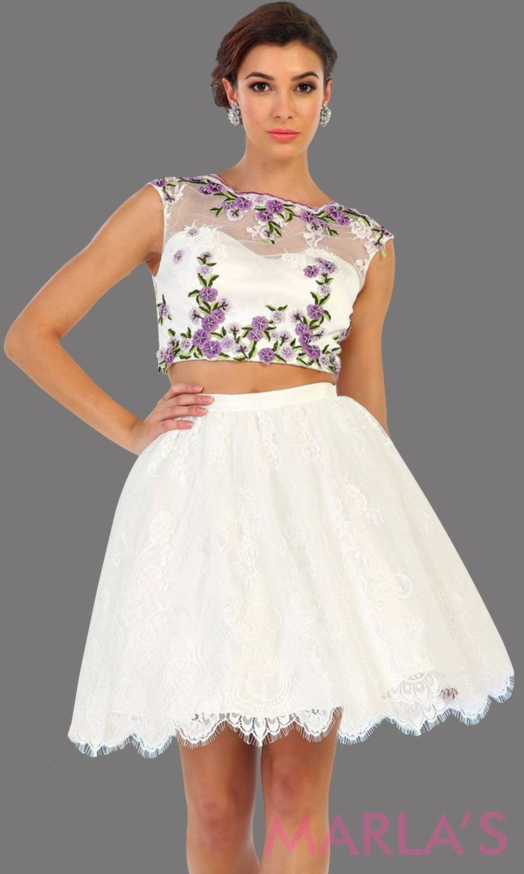 Short two piece flowy white dress with lilac printed emboidery