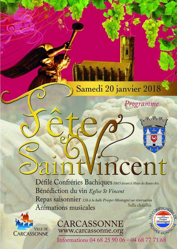 Affiche de la 7ème édition de la Fête de la Saint Vincent, organisée depuis 2011 dans la Bastide Saint Louis à Carcassonne autour de la Gastronomie, de la Viticulture et du Patrimoine.
