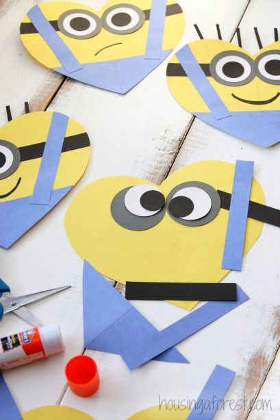Valentine's Day Heart Minion Craft                                                                                                                                                                                 More